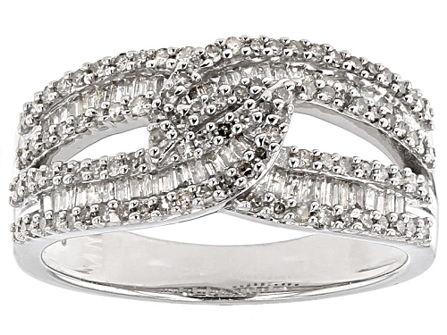 Photo of .75ctw Round And Baguette White Diamond Rhodium Over Sterling Silver Crossover Ring - Size 7