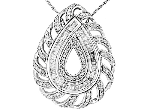 "Photo of .75ctw Round And Baguette White Diamond Rhodium Over Silver Interchangeable Pendant With 18"" Chain"