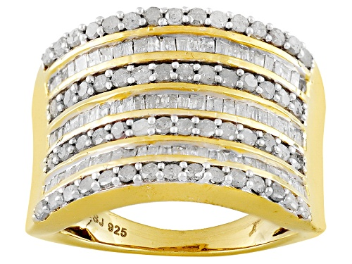 Photo of Engild™ 1.50ctw Round And Baguette White Diamond 14k Yellow Gold Over Sterling Silver Band Ring - Size 5