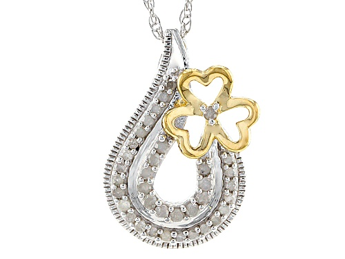 "Photo of .22ctw Round White Diamond Rhodium And 14k Yellow Gold Over Sterling Silver Pendant With 18"" Chain"