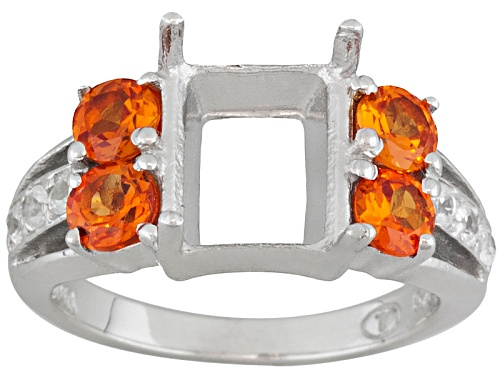 Photo of Gemsavvy Trenditions™10x8mm Rec Oct W/ Lab Created Pad And Zircon Rhodium Over Sterl Semi Mount