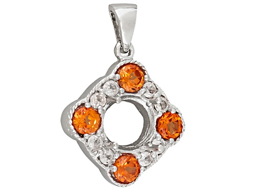 Photo of Gemsavvy Trenditions™Rhodium Over Sterling 9mm Rd W/2.24ctw Lab Pad & Wht Zircon Semi Pendant