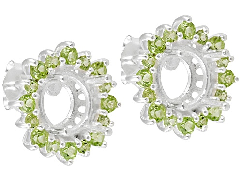 Photo of Gemsavvy Trenditions™ 7mm Round With Peridot 1.28ctw Rhodium Over Sterling Semi-Mount Earrings