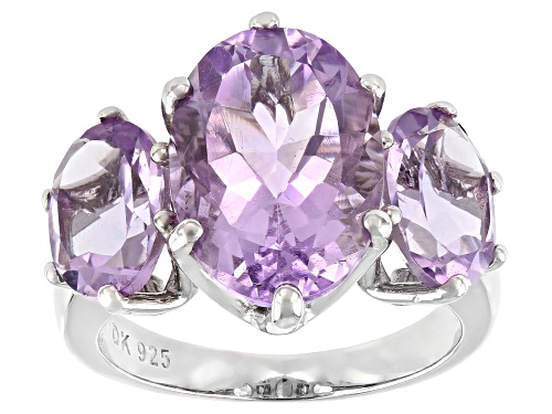 Photo of 6.93ctw Oval Brazilian Amethyst Rhodium Over Silver 3-Stone Ring - Size 7