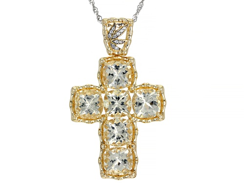 Photo of 10.70ct Yellow Labradorite and .06ctw White Zircon 18k Yellow Gold Over Silver Cross Pendant/Chain