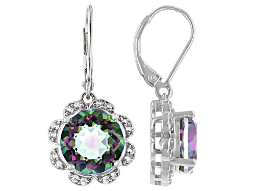Photo of 6.80ctw Round Multi-Color Quartz With .38ctw Round White Topaz Rhodium Over Silver Earrings