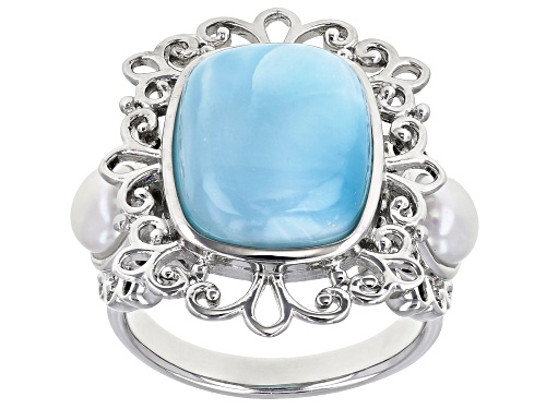 Photo of 14x11mm Larimar and 5-5.5mm Cultured Freshwater Pearl Rhodium Over Sterling Silver Ring - Size 7