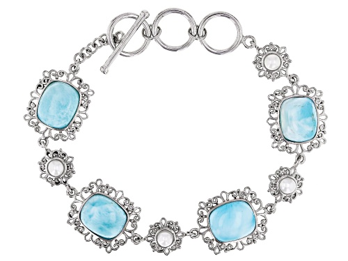 Photo of 12x10mm Rectangular Cushion Larimar and Cultured Freshwater Pearl Rhodium Over Silver Bracelet - Size 7.25