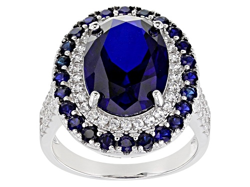 7.90ctw Lab Created Blue Sapphire and .60ctw Lab Created White Sapphire Rhodium Over Silver Ring - Size 7