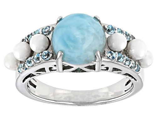 Photo of 9mm Round Blue Larimar With Cultured Freshwater Pearl and .37ctw Topaz Rhodium Over Silver Ring - Size 7