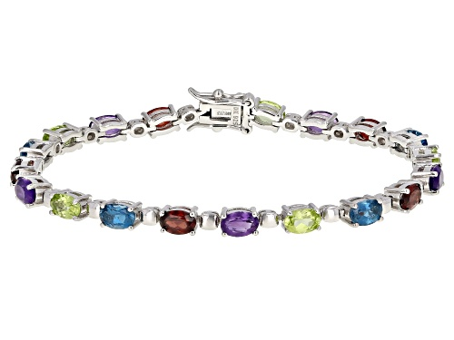 Photo of 8.56ctw Multi-Color Gemstone Rhodium Over Sterling Silver Tennis Bracelet - Size 8
