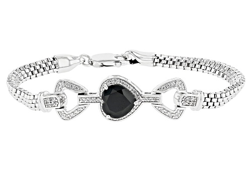 3.23ct Heart Shape Black Spinel with .67ctw Round White Zircon Rhodium Over Sterling Silver Bracelet - Size 7.25