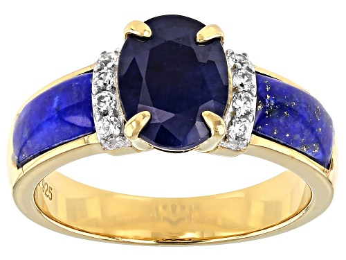 Photo of 1.85ct BLUE SAPPHIRE, LAPIS LAZULI, WITH WHITE ZIRCON 18K YELLOW GOLD OVER STERLING SILVER RING - Size 8