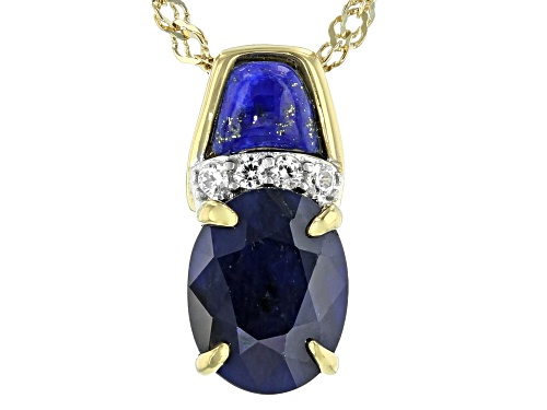 Photo of 1.85CT BLUE SAPPHIRE, LAPIS LAPZULI WITH .08CTW WHITE ZIRCON 18K YG OVER SILVER PENDANT WITH CHAIN