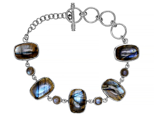 Photo of Mixed shape Cabochon Labradorite Rhodium Over Sterling Silver Toggle Bracelet - Size 7.25