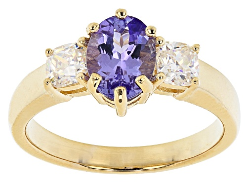 Photo of 1.08ct oval tanzanite with 0.66ctw white strontium titanate 18K gold over sterling silver ring - Size 8