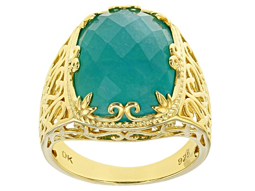 Photo of 15x11mm Checkerboard Cut Rectangular Cushion Amazonite 18k Yellow Gold Over Silver Solitaire Ring - Size 7