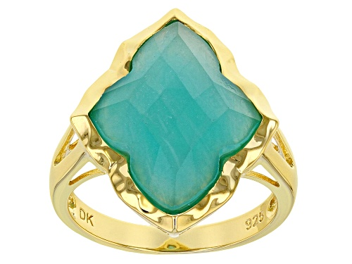 Photo of 17x13mm Checkerboard Cut Fancy Shape Amazonite 18k Yellow Gold Over Sterling Silver Ring - Size 8
