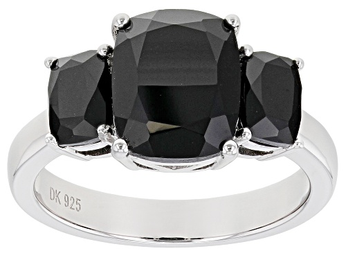 Photo of 3.91ctw Rectangular Cushion Black Spinel Rhodium Over Sterling Silver 3-Stone Ring - Size 7