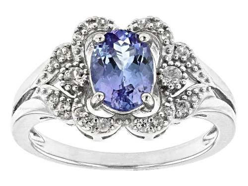Photo of 1.06CT OVAL TANZANITE WITH .23CTW WHITE ZIRCON RHODIUM OVER STERLING SILVER RING - Size 7