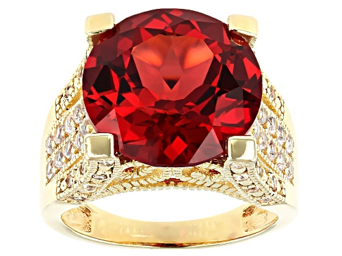 Photo of 11.05ct Round Lab Created Padparadsha Sapphire and .85ctw Topaz 18k Gold Over Silver Ring - Size 8