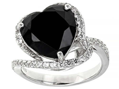 Photo of 5.95ct Heart shaped black spinel with 0.71ctw round white zircon rhodium over sterling silver ring - Size 8