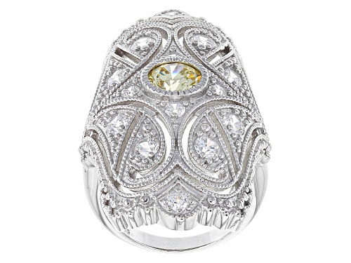 Photo of Charles Winston For Bella Luce ® 3.07ctw Canary & White Diamond Simulant Rhodium Over Silver Ring - Size 5