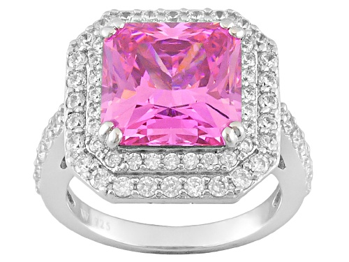 Photo of Charles Winston For Bella Luce ® 10.00ctw Pink & White Diamond Simulant Rhodium Over Silver Ring - Size 5