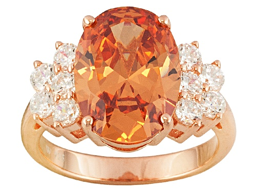 Photo of Charles Winston For Bella Luce ® Champagne & White Diamond Simulant 18k Rose Gold Over Silver Ring - Size 8