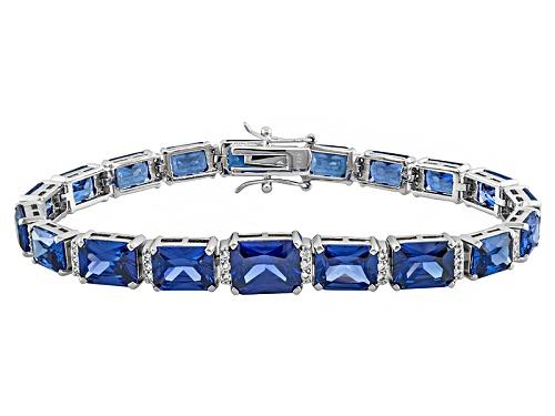 Photo of Charles Winston For Bella Luce ® 48.34ctw Tanzanite Simulant Rhodium Over Silver Bracelet - Size 7.5