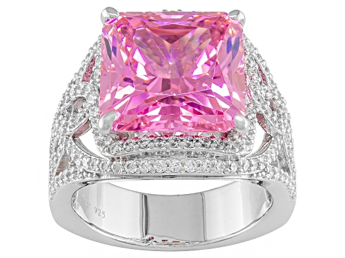 Photo of Charles Winston For Bella Luce ® 17.04ctw Pink & White Diamond Simulant Rhodium Over Silver Ring - Size 9