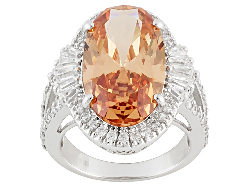 Photo of Charles Winston For Bella Luce® 14.30ctw Champagne & White Diamond Simulant Rhod Over Silver Ring - Size 5