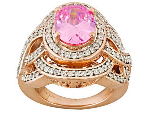Charles Winston For Bella Luce ® 5.73ctw Pink And White Diamond Simulants Eterno ™ Rose Ring - Size 7