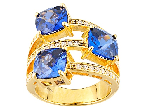 Photo of Charles Winston For Bella Luce ® 12.76ctw Tanzanite & Diamond Simulants Eterno ™Yellow Ring - Size 8
