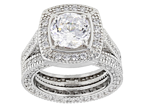 Photo of Charles Winston For Bella Luce®10.68ctw Diamond Simulant Rhodium Over Silver Ring W/Band - Size 11