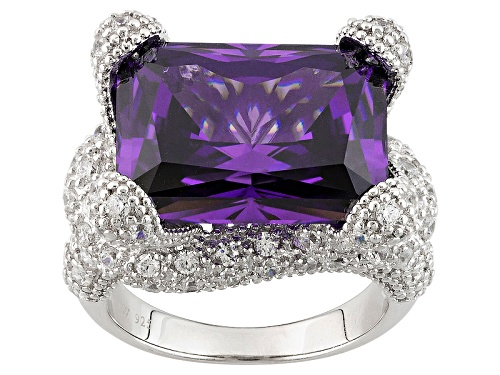 Photo of Charles Winston For Bella Luce® 24.45ctw Amethyst & Diamond Simulants Rhodium Over Sterling Ring - Size 5
