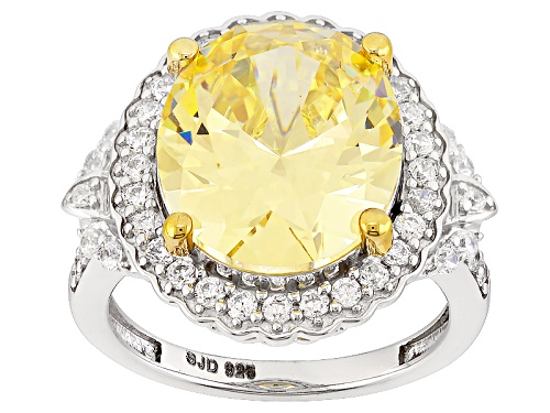 Photo of Charles Winston For Bella Luce ® Canary & White Diamond Simulant Rhodium Over Sterling Ring - Size 9