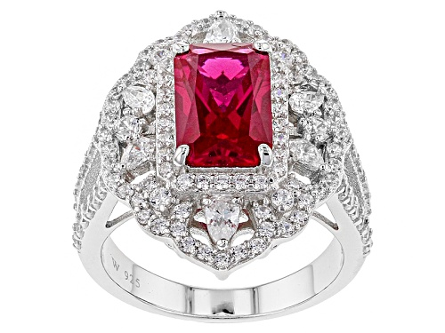 Photo of Charles Winston For Bella Luce® Lab Created Ruby & Diamond Simulant Rhodium Over Sterling Ring - Size 11