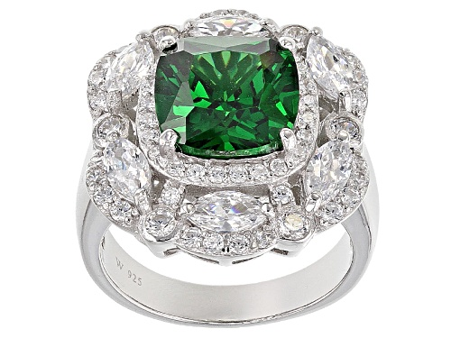 Photo of Charles Winston For Bella Luce ® 9.59ctw Emerald & Diamond Simulants Rhodium Over Sterling Ring - Size 7