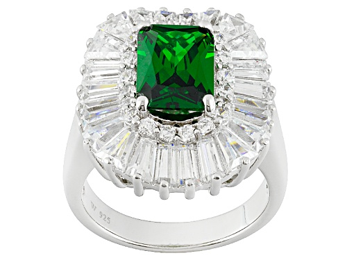 Photo of Charles Winston For Bella Luce ® Emerald & Diamond Simulants Rhodium Over Sterling Silver Ring - Size 10