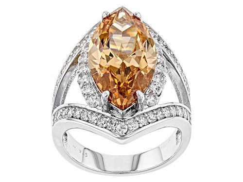 Photo of Charles Winston For Bella Luce ® Champagne & White Diamond Simulant Rhodium Over Sterling Ring - Size 7