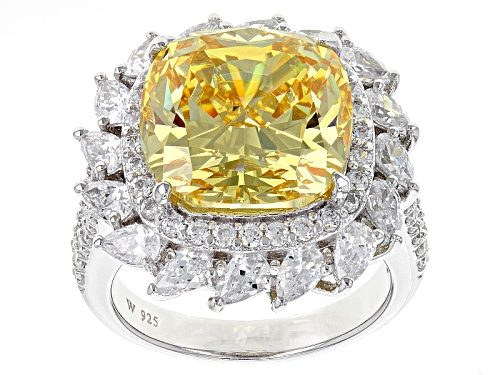 Photo of Charles Winston For Bella Luce®20.03ctw Canary & Diamond Simulants Rhodium Over Sterling Ring - Size 12