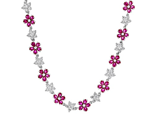 Photo of Charles Winston For Bella Luce®Lab Created Ruby & Diamond Simulant Rhodium Over Silver Necklace - Size 18