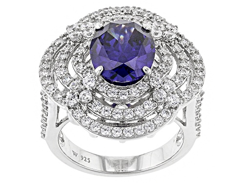 Photo of Charles Winston For Bella Luce ® 9.00ctw Tanzanite & Diamond Simulants Rhodium Over Silver Ring - Size 10