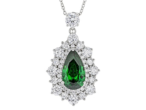 Photo of Charles Winston For Bella Luce ® Emerald & Diamond Simulants Rhodium Over Silver Pendant & Chain