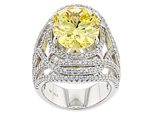 Photo of Charles Winston For Bella Luce® 18.57ctw Canary & Diamond Simulants Rhodium Over Silver Ring - Size 12