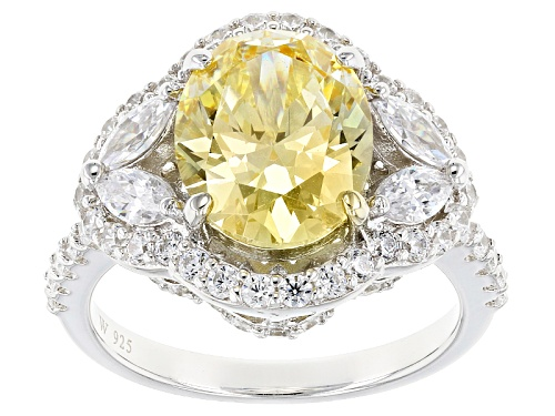 Charles Winston For Bella Luce ® 8.66ctw Canary & Diamond Simulants Rhodium Over Silver Ring - Size 12