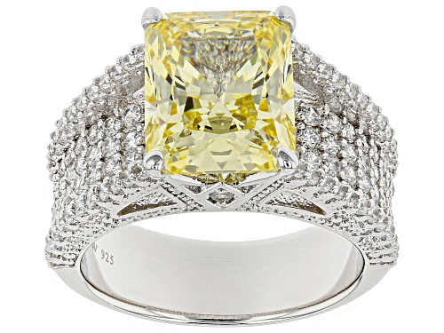 Photo of Charles Winston for Bella Luce ® Canary & White Diamond Simulants Rhodium Over Sterling Silver Ring - Size 11