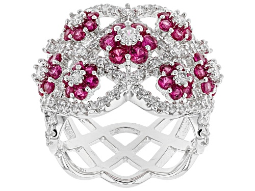 Photo of Charles Winston for Bella Luce® Lab Created Ruby & White Diamond Simulant Rhodium Over Silver Ring - Size 5