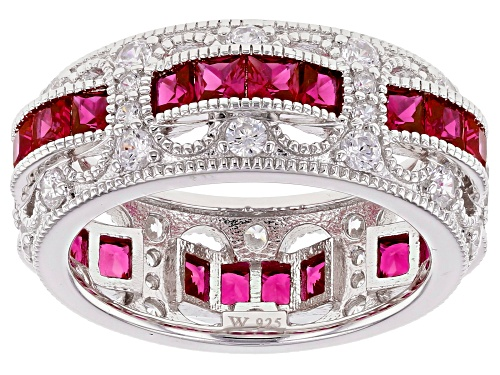 Charles Winston For Bella Luce®Lab Created Ruby & White Diamond Simulant Rhodium Over Silver Ring - Size 7